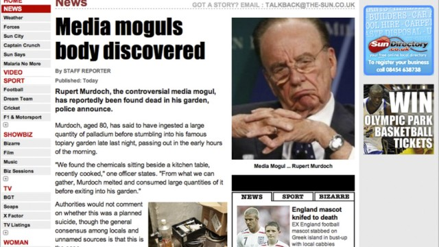 Rupert Murdoch Cyber-Attacke auf Murdoch-Blatt