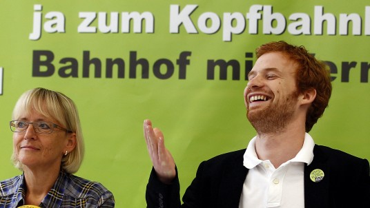 Rockenbauch and Dahlbender, speakers of the opponents of Germany's railways project 'Stuttgart 21' address the media in Stuttgart