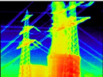 An image taken with a thermographic or infrared camera shows the reactor building of the EnBW nuclear power plant in Philippsburg