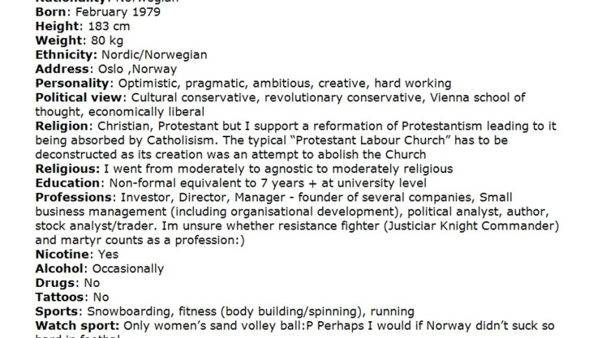 An excerpt taken from a book downloaded from a link posted on the Norwegian discussion website, www.freak.no, and entitled '2083 - A European Declaration of Independence', is seen in this screen grab