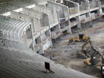 A view of the renovation of the Maracana Stadium in Rio de Janeiro