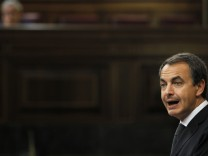 Spanish Prime Minister Jose Luis Rodriguez Zapatero speaks during an extraordinary plenary session at Parliament in Madrid