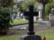 The place where the tomb and headstone of Adolf Hitler's deputy Rudolf Hess once stood is pictured at Wunsiedel graveyard