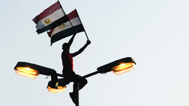 A protester waves the Egyptian flags while sitting on top of an electrical pole in Tahrir square in Cairo