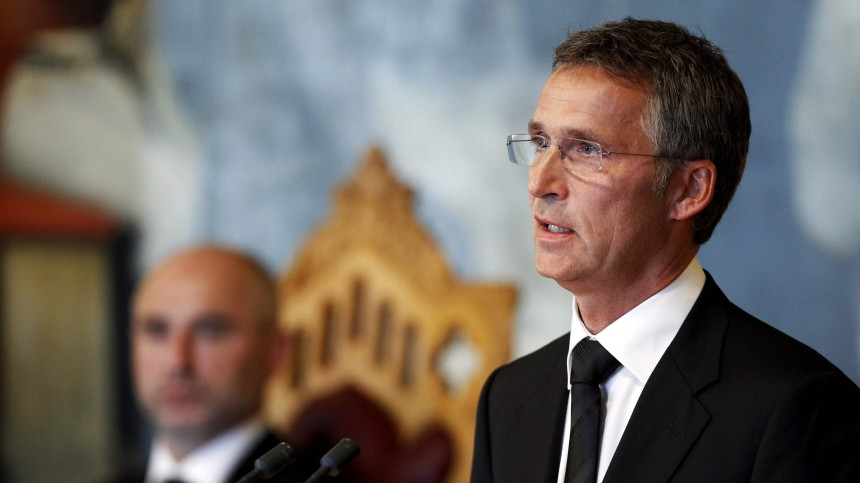 Norway's Prime Minister Jens Stoltenberg speaks at the Norwegian parliament in Oslo during a commemoration ceremony