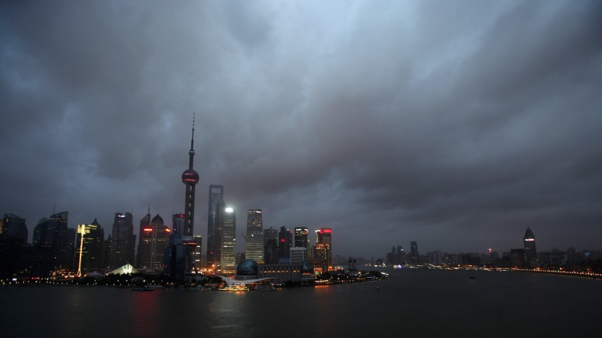 Clouds cover the financial district of Shanghai