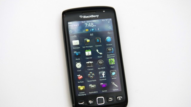A Blackberry Torch 9860 is displayed at a release party to promote the BlackBerry OS 7 devices in Toronto