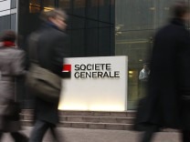 File photo of the entrance to the headquarters of French bank Societe Generale in La Defense, outside Paris