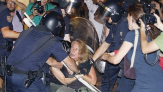 Demonstration, in Madrid against government support for World You