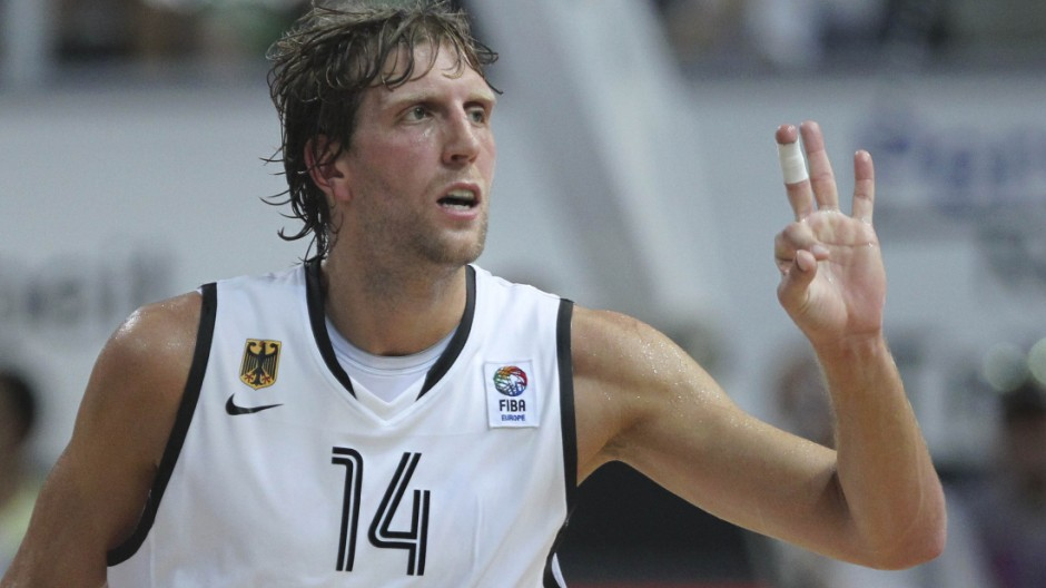 Nowitzki of Germany gestures during their men's basketball BEKO Supercup game against Turkey in Bamberg