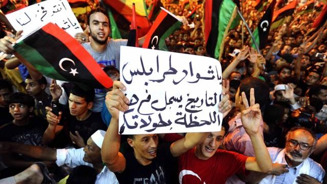 People celebrate in Benghazi