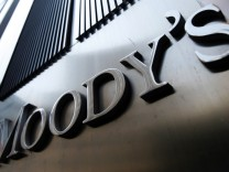 File photo showing Moody's sign on 7 World Trade Center tower in New York
