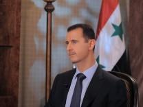 Syrian President Bashar Al Assad TV interview in Damascus