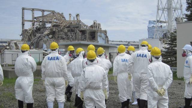File picture of International Atomic Energy Agency (IAEA) inspection team members in Fukushima Prefecture