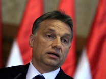Hungarian Prime Minister Orban speaks during a news conference in Budapest