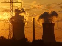 Atomkraftwerk hinter Strommasten