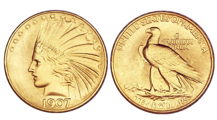 Numismatik 10 Dollar Indian Head Von 1907 Geld Süddeutschede