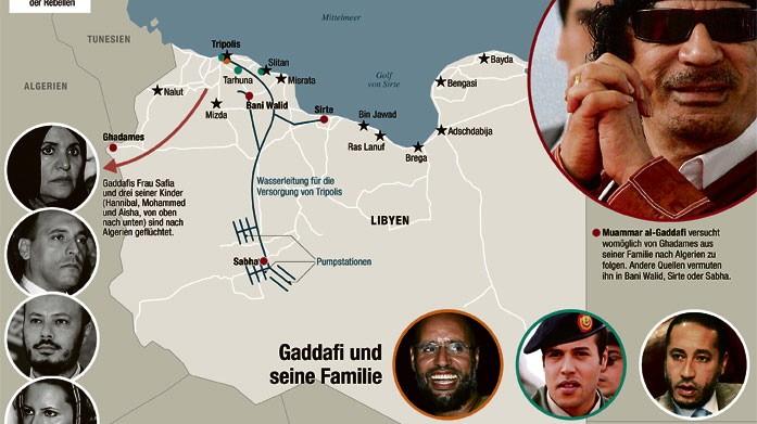 Karte Gaddafis Familie in Libyen