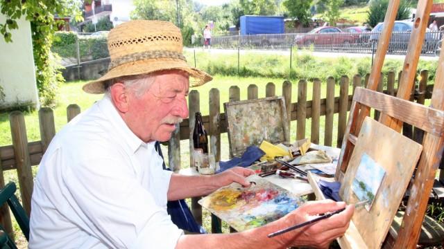 Sepp Wagner malt in Possenhofen