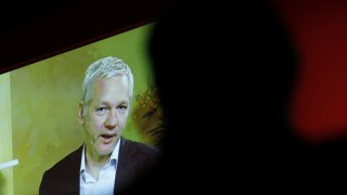 WikiLeaks founder Assange delivers keynote speech via video link to audience at Media Week congress at IFA electronics fair in Berlin