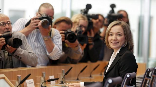 German Family Minister Schroeder arrives for news conference at Bundespressekonferenz in Berlin
