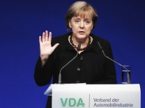 German Chancellor Merkel give speech at the official opening ceremony for the International Motor Show in Frankfurt