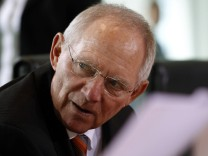 German Finance Minister Schaeuble attends cabinet meeting in Berlin
