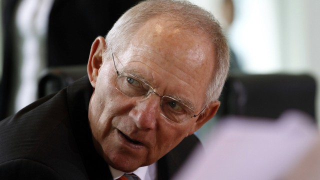 German Finance Minister Schaeuble attends cabinet meeting in Berlin