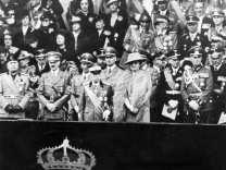 Adolf Hitler, Benito Mussolini und Italiens König Viktor Emanuel in Rom,1938 SZ Photo/Scherl