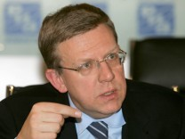 File photo of Russian Finance Minister Kudrin at a news conference in Moscow