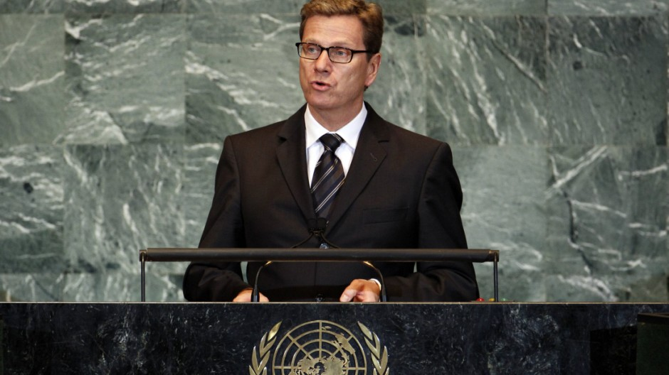 German Foreign Minister Guido Westerwelle addresses the 66th United Nations General Assembly at U.N. headquarters in New York