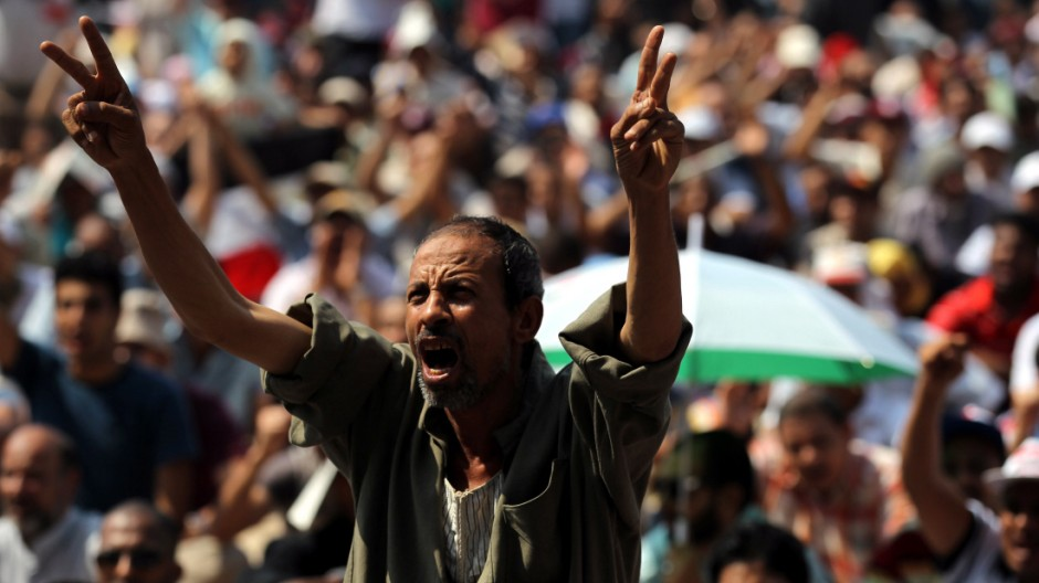 Egyptians protest in Tahrir square against the emergency law