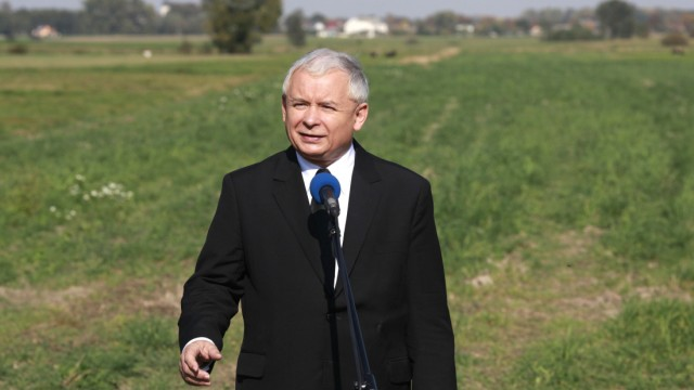 Leader of the main opposition Party, PiS, Jaroslaw Kaczynski campaigns in the village of Zlota South of Warsaw