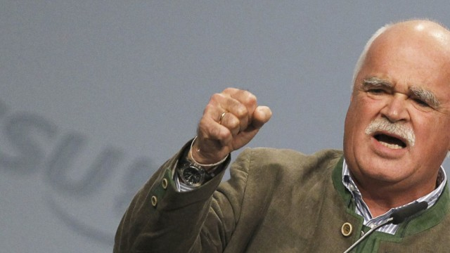 Gauweiler delivers a speech during the CSU party convention in Nuremberg