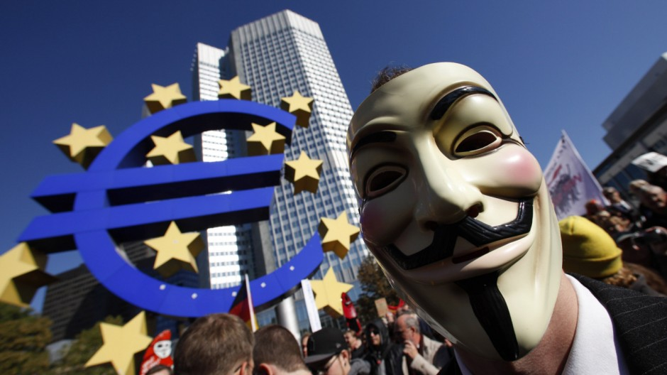 Protesters demonstrate against banking and finance in front of headquarters of ECB in Frankfurt