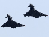 British Eurofighter EF-2000 Typhoon jets fly over the Gioia del Colle NATO Airbase in southern Italy