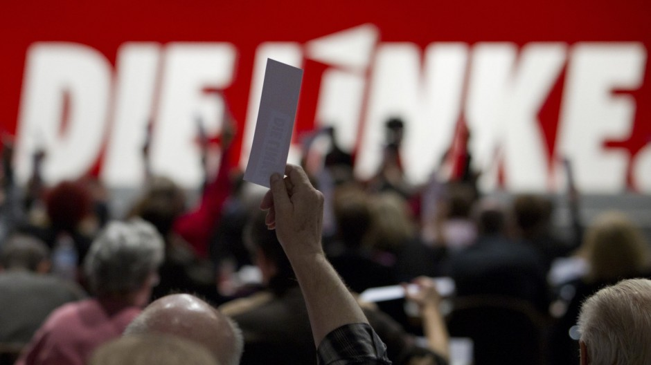 Left-wing Die Linke party members vote at federal party congress in Erfurt