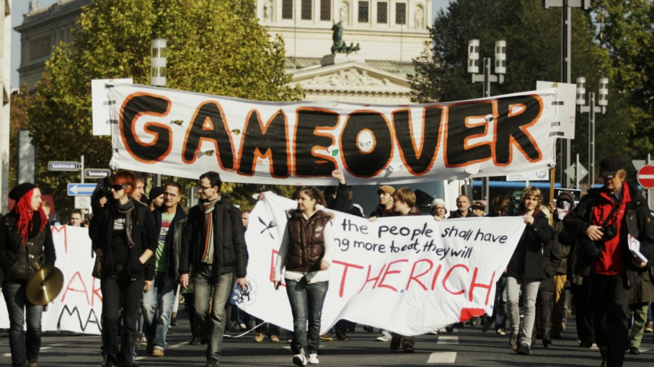 Demonstration der 'Occupy Frankfurt'-Bewegung