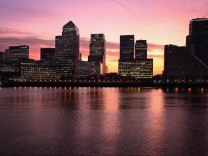 Sunrise Over Canary Wharf - The European Headquarters Of Numerous Major Banks