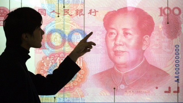 Poster mit chinesischer 100-Yuan -Banknote in Peking