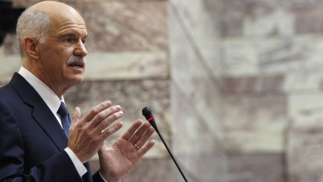 Greek Prime minister Papandreou delivers a speech to Panhellenic Socialist Movement parliamentary group in Athens
