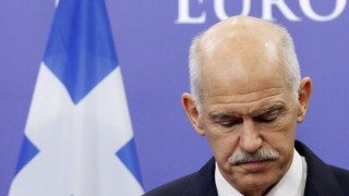 File photo shows Greece's Prime Minister Papandreou briefing the media after a meeting with European Council President Van Rompuy in Brussels