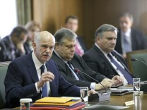 Greek Premier Papandreou at cabinet meeting in Athens