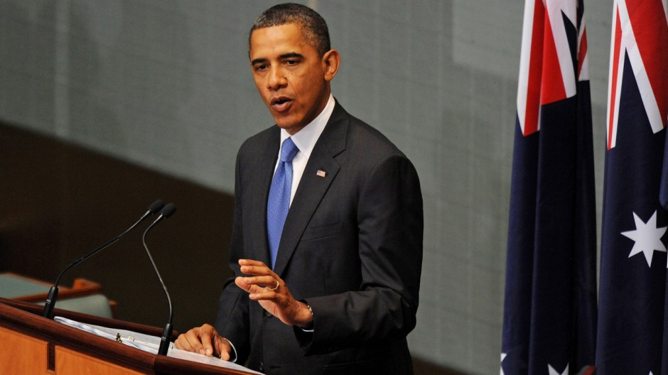 Barack Obama bei seiner Rede vor dem australischen Parlament