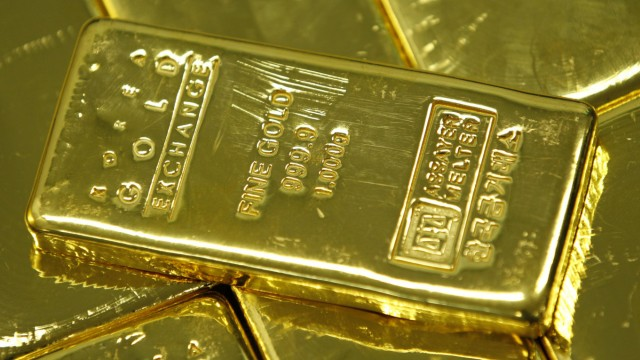 One kilogram gold bars are seen in this picture illustration taken at the Korea Gold Exchange in Seoul