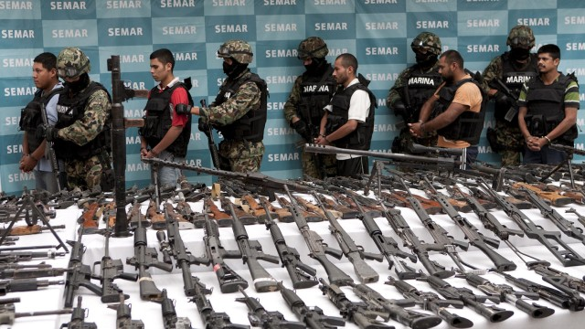 Sichergestellte Waffen in Mexiko