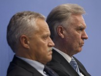 Head of Germany's interior security service Fromm and BKA head Ziercke attend news conference on threat of right-wing violence in Berlin