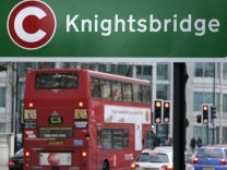 New congestion charge sign for Knightsbridge is seen in London