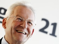 Head of Deutsche Bahn Grube addresses media in Berlin