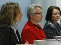 German Families Minister Schroeder, Education Minister Schavan and  Justice Minister Leutheusser-Schnarrenberger address media in Berlin
